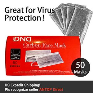 Disposable Earloop Face Masks,4 Ply Activated Carbon Non-Woven Medical Masks with Anti Dust, Great for Virus Protection,Breathability Comfort (50PCS, Grey)