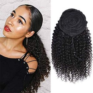 VTAOZI Curly Human Hair Drawstring Ponytail Extension for Black Women