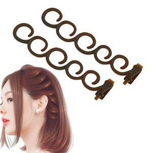 Aysekone 2 Pcs/Set Women's Hair Braiding Tools Coffee Magic Hair Twist Styling Clip