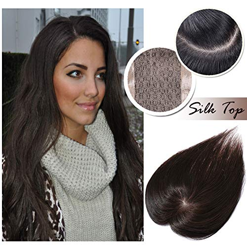 Human Hair Toppers for Women With Thinning Hair Clip in Top Hair Piece Silk