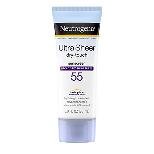 Neutrogena Ultra Sheer Dry-Touch Sunscreen Lotion, Broad Spectrum SPF 55 UVA/UVB Protection, Oxybenzone, Light, Water Resistant, Non-Comedogenic & Non-Greasy, Travel Size, 3 fl. oz