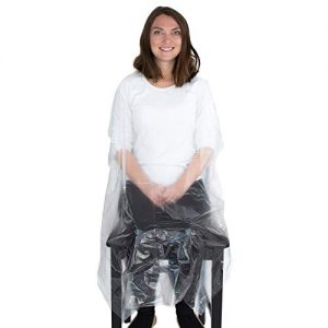 Disposable Capes Hair Salon - 100 Plastic Capes - Clear Salon Cape