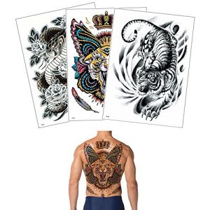 3 Sheets Temporary Waterproof Big Full Back Tattoo Sticker for Women Men Body