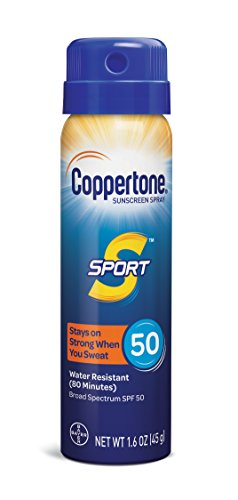 Coppertone SPORT Continuous Sunscreen Spray Broad Spectrum SPF 50 (1.6 Ounce, Travel Size) (Packaging may vary)
