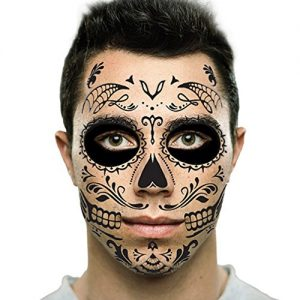 Black Web Sugar Skull Day of the Dead Temporary Face Tattoo Kit