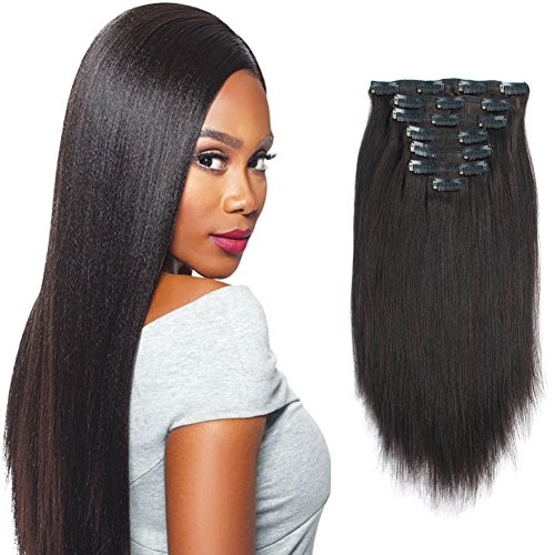 Sassina Clip in Human Hair Extensions Yaki Straight Style Natural Color Real Remy