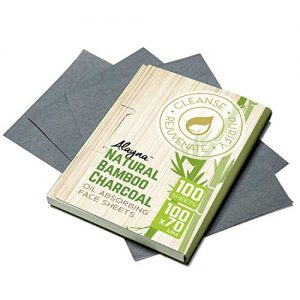 Oil Blotting Sheets- Natural Bamboo Charcoal Oil Absorbing Tissues- 100 Pcs Organic Blotting Paper- Beauty Blotters for the Face- Papers Remove Excess Shine- For Facial Make Up & Skin Care (1 pk)