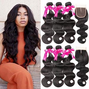 Beauty Princess 8A Brazilian Body Wave 3 Bundles with Closure Unprocessed Human