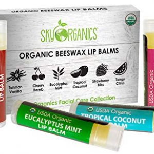 USDA Organic Lip Balm by Sky Organics - 6 Pack Assorted Flavors