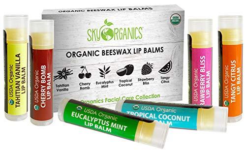 USDA Organic Lip Balm by Sky Organics - 6 Pack Assorted Flavors