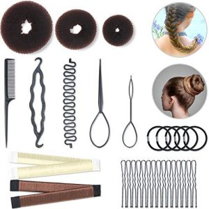 Hair Styling Set Hair Braid Tool 3 Pieces Donut Hair Bun Tool 2 Pieces French