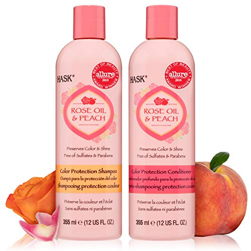HASK ROSE OIL + PEACH Shampoo and Conditioner Set Color Protecting