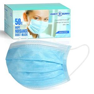 DUST GUARD Disposable Sanitary Masks Medical Surgical 3 Ply Facial Mask - Elastic Ear Loop, Protect You From Pollen Allergen, 50 Pieces in Box