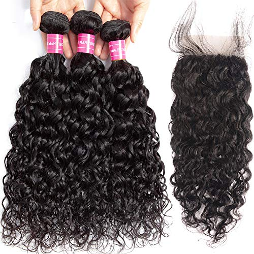 RUIXIAN Brazilian Virgin Water Wave 3 Bundles with Closure 100% Unprocessed