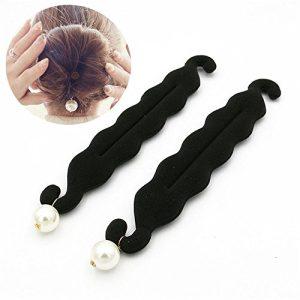 2 Pcs Womens Hair Styling Tools Pearl Foam Sponge Donut Bun Maker Clip
