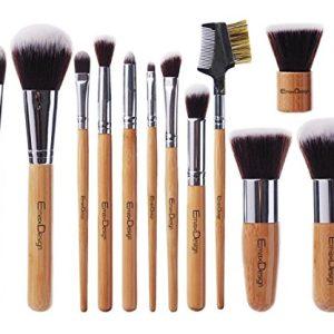 EmaxDesign 12 Pieces Makeup Brush Set Professional Bamboo Handle Premium