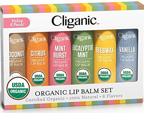 Cliganic USDA Organic Lip Balm Set - 6 Flavors - 100% Natural Moisturizer