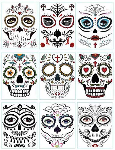 DaLin 9 Sheets Floral Day of the Dead Sugar Skull Temporary Face Tattoos for Halloween