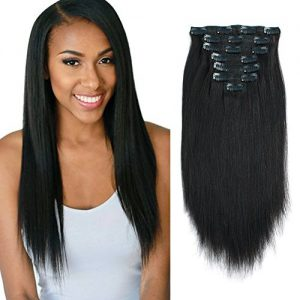 Lovrio Yaki Stright Real Remy Clip in Hair Extensions 9A Grade 100% Virgin Brazilian