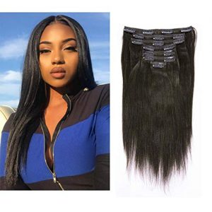 Anrosa Yaki Clip ins Yaki Hair Extensions Clip in Human Hair 1B Natural Black