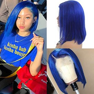 13x6 Brazilian Human Hair Wigs for Black Women Glueless Lace Front Wigs Blue
