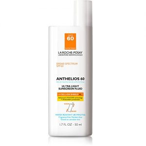 La Roche-Posay Anthelios Ultra Light Face Sunscreen Fluid Broad Spectrum SPF 60, Non Greasy, Lightweight, Non-Comedogenic, 1.75 Fl. Oz.