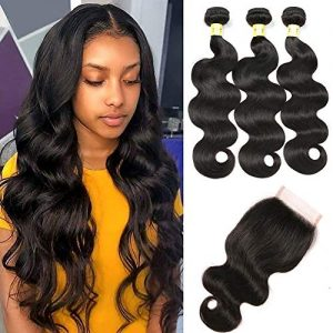 Mureen Brazilian Hair 3 Bundles with Closure Body Wave 4×4 Virgin Hair Lace