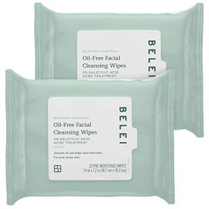 Belei Oil-Free Blemish Control Facial Cleansing Wipes, 2% Salicylic Acid