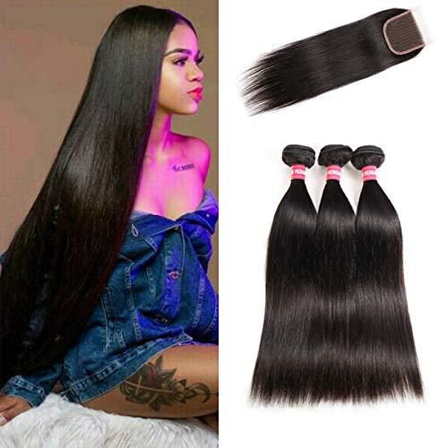 LONG YAO Brazilian Virgin Straight Human Hair 3 Bundles