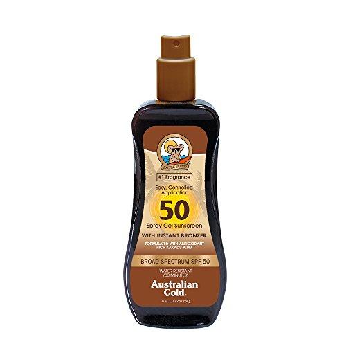 Australian Gold Spray Gel Sunscreen with Instant Bronzer SPF 50, 8 Ounce