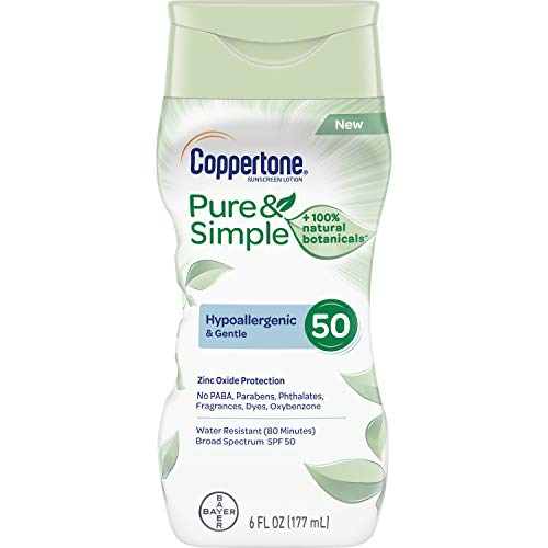 Coppertone Pure & Simple SPF 50 Sunscreen Lotion, Water Resistant, Hypoallergenic, Dermatologically Tested, Plus 100% Natural Botanicals, Broad Spectrum UVA/UVB Protection, 6 Ounce