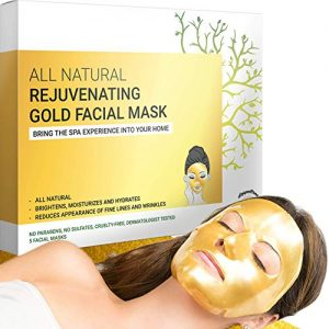 Gold Sheet Mask - Hydrating Facial Face Masks for Beauty, Anti Aging & Moisturizing - Facemask Made with Collagen, Hyaluronic Acid, 24k Nano Gold & Hydrogel- Formulated in San Francisco (5 Masks)
