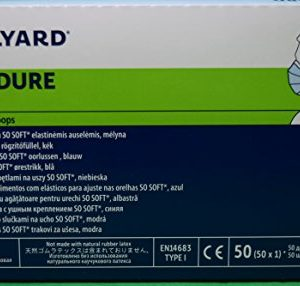 Halyard Procedure Mask/Pleat/Earloops, Blue,(47080) 50 Count