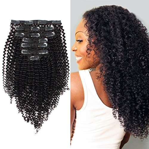 ABH AmazingBeauty Hair 8A Remy Brazilian Clip in Hair Extensions Kinkys curly