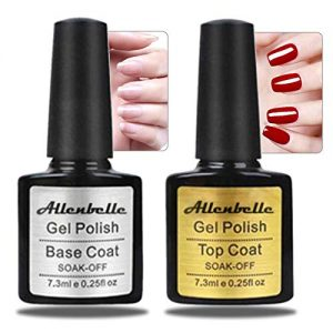 Allenbelle Base Top Coat Nail Polish Gift Set Base Top Coat Gel Uv Set