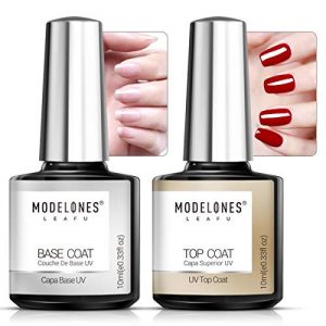 Modelones Gel Nail Polish No Wipe Top and Base Coat Set 2x10ml UV LED