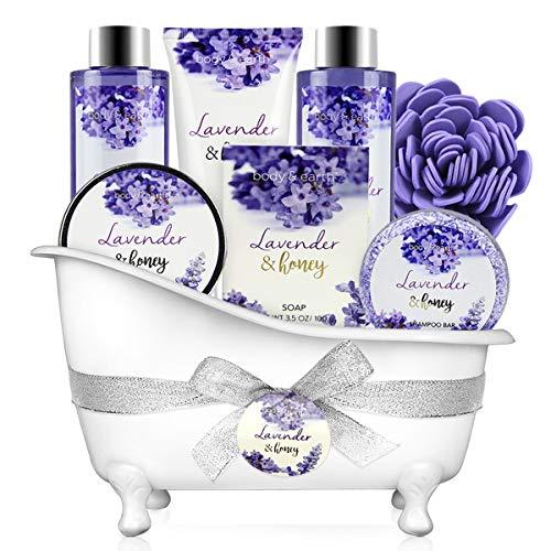 Bath and Body Gift Set - Body & Earth 8 Pcs Bath Spa Gift Sets Lavender&Honey