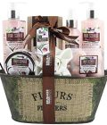 BRUBAKER Cosmetics Home Spa Gift Set - Coconut Milk & Strawberry Scent - 10 Pcs Luxury Bath & Body Gift Set For Women and Men Including Vintage Basket