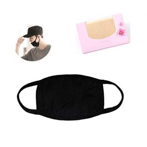 Made in Korea Unisex Kpop Mask Basic Black Cotton Face Mouth Mask