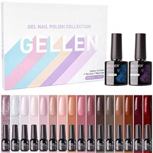 Gellen 16 Colors Gel Nail Polish Set With Top Base Coat - Pink Red Nudes Makeup