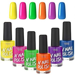 UV Glow Blacklight Nail Polish - 6 Color Variety Pack, 13ml - Day or Night Stage