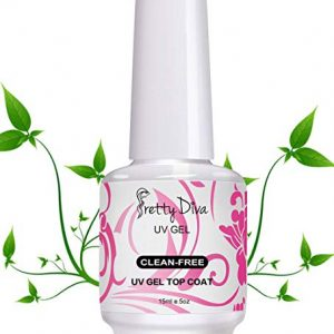 PrettyDiva No Wipe Top Coat - 0.5 Oz No Cleanse UV Led Light Cured Required