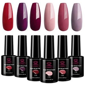 Makartt Burgundy Red Gel Nail Polish Kit 10ML 6 Bottles Pink Nude Sangria