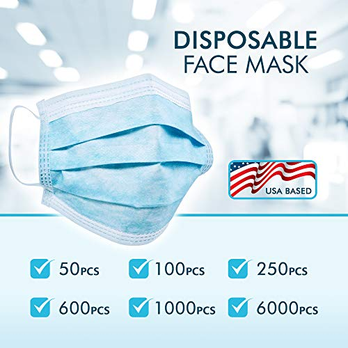Clean Disposable Face Mask - 50 PCS - 3 Soft Layers in Each Mask