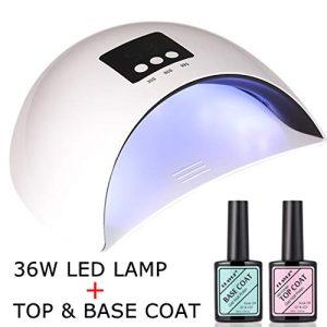 CLAVUZ 36W Soak Off UV LED Nail Light Lamp with Top Coat Base Coat Gel Nail