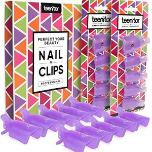 Teenitor Acrylic Nail Polish Remover Clips, 20 Pieces Reusable Toenail and Finger Gel