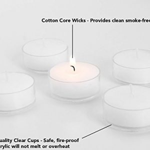 D'Light Online Clear Cupped 5 Hours Unscented White Tealight Candles
