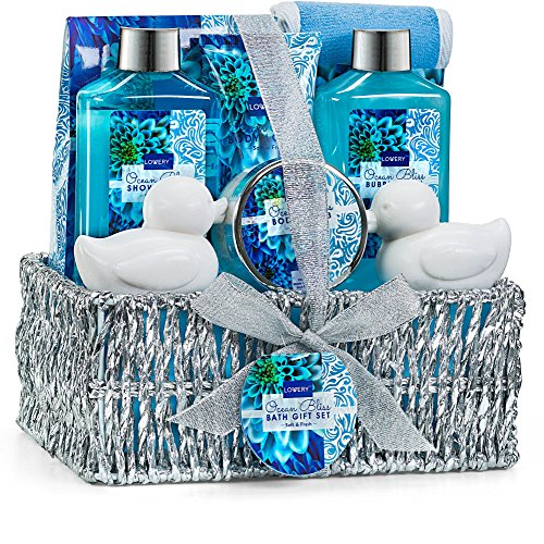 Home Spa Gift Basket in Heavenly Ocean Bliss Scent - 9 Piece Bath & Body Set