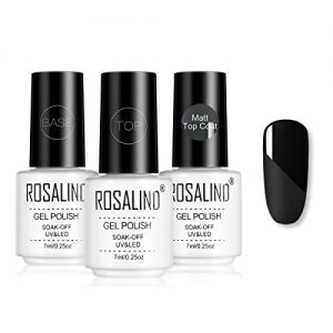 ROSALIND Matte Top Coat High Gloss Top Coat Base Coat, Soak Off UV LED
