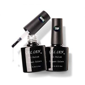 Gellen Gel Nail Polish Base Coat Top Coat Set, UV LED Soak Off No Wipe Glossy Top